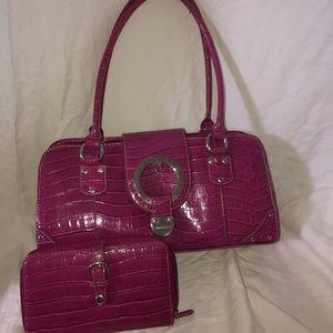 Leather printed maroon Minicci handbag and wallet